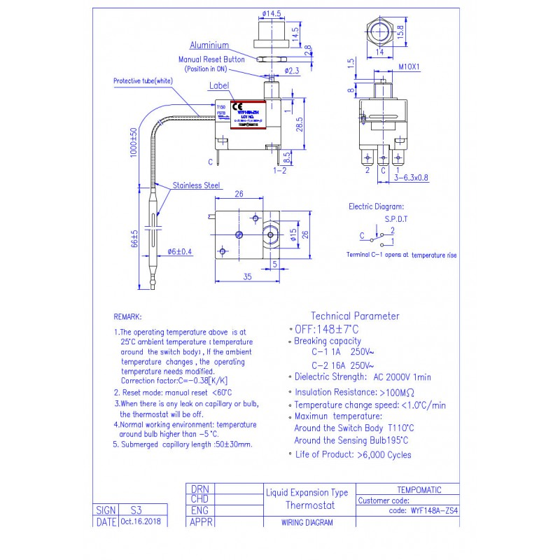 BULB CAPILLARY THERMOSTAT 148°C MANUAL RESET