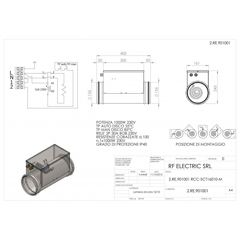 TUBULAR ELECTRIC HEATER 1KW 230V d.160mm ON CIRCULAR DUCT