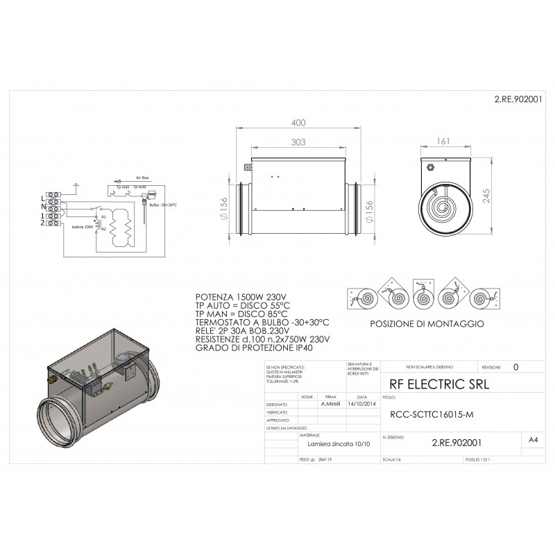 TUBULAR ELECTRIC HEATER 1.5KW 230V d.160mm ON CIRCULAR DUCT