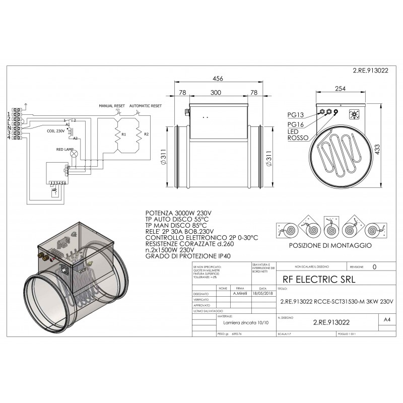 TUBULAR ELECTRIC HEATER 3KW 230V d.315mm  ON CIRCULAR DUCT