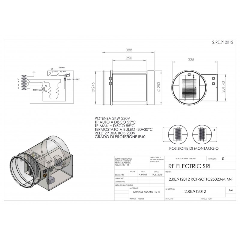 WIRED ELECTRIC HEATER 2KW 230V d.250mm ON CIRCULAR DUCT