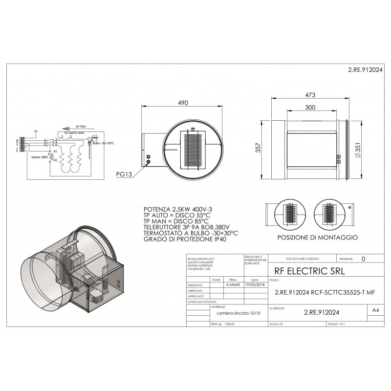 WIRED ELECTRIC HEATER 2.5KW 400V-3 d.355mm ON CIRCULAR DUCT
