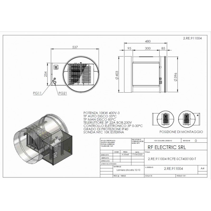 WIRE ELECTRIC HEATER 10KW 400V-3 d.400mm  ON CIRCULAR DUCT