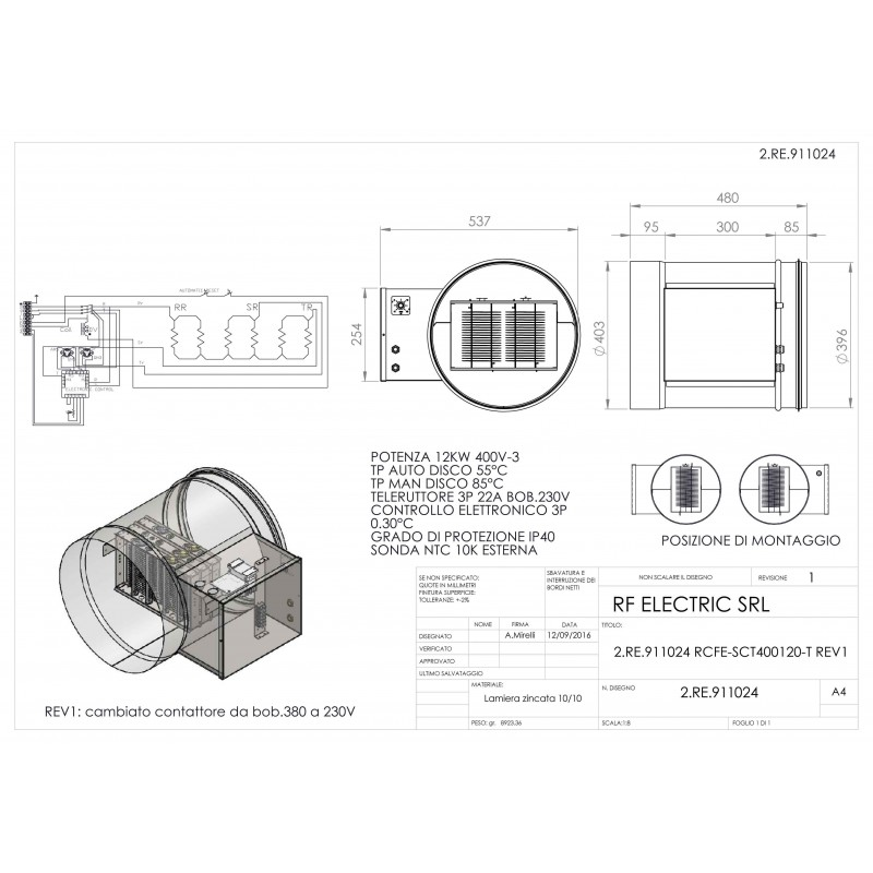 WIRE ELECTRIC HEATER 12KW 400V-3 d.400mm  ON CIRCULAR DUCT