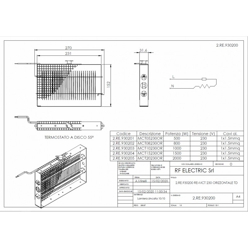 WIRE ELECTRIC HEATER 2.5KW 230V 270X152 ON HORIZONTAL FRAME
