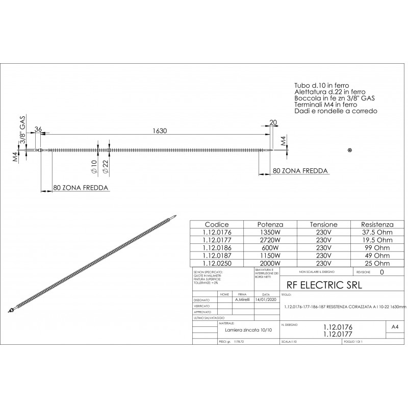 FINNED STRAIGHT TUBULAR HEATER 1360W 230V 1630mm
